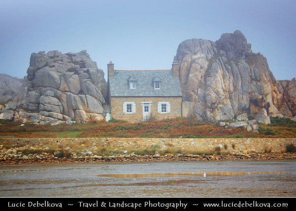 Europe - France - Bretagne - Brittany - Plougrescant peninsula - Côtes-d'Armor coast - Pointe du Chateau - Maison entre des rochers - House between rocks