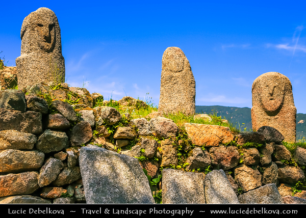 Europe - France - Corsica Island - Corse - Corse-du-Sud - Corsican South-West Coast on shores of Mediterranean Sea - Filitosa - Prehistoric site & Megaliths Area