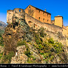 Europe - France - Corsica Island - Corse - Haute-Corse - Corte - Historical town in heart of Corsica with an imposing citadel built on steep rock - One most impressive sights in beautiful location in the heart of the Corsica natural Park