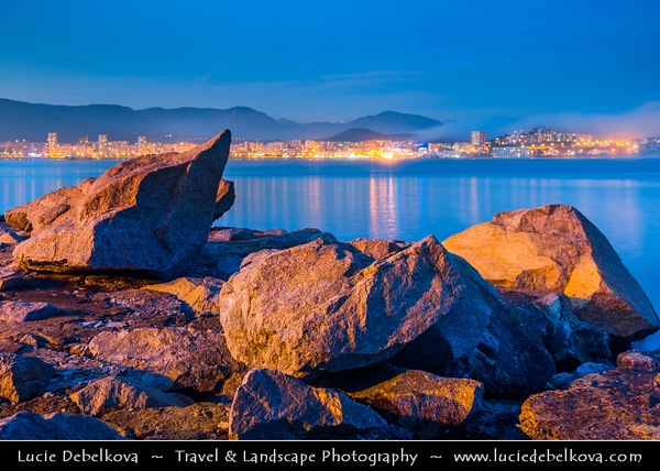 Europe - France - Corsica Island - Corse-du-Sud - West Coast on Mediterranean Sea - Ajaccio Bay - Golfe d'Ajaccio - Ajaccio - Aiacciu - Island's Capital famous as the birthplace of Napoleon - Dusk - Twilight - Blue Hour
