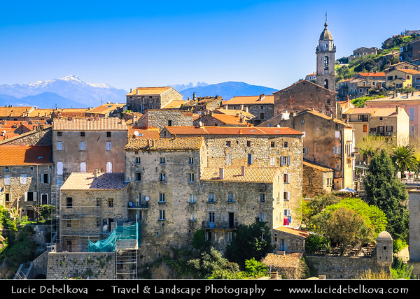 Europe - France - Corsica Island - Corse - Corse-du-Sud - Corsican South-West Coast on shores of Mediterranean Sea - Sartène - Ancient town set high on a hill with perfectly preserved old town with high granite walls