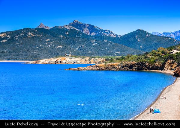 Europe - France - Corsica Island - Corse - Corsican North-West Coast on shores of Mediterranean Sea - Road from Ajaccio to Calvi - Galeria - Seaside village