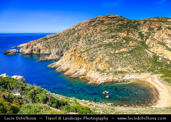 Europe - France - Corsica Island - Corse - Haute-Corse - Corsican North-West Coast on shores of Mediterranean Sea - Road from Ajaccio to Calvi - Pointe de la Revellata near Calvi