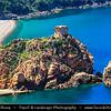 Europe - France - Corsica Island - Corse - Corsican West Coast on shores of Mediterranean Sea - Road from Ajaccio to Calvi - Regional Natural Park of Corsica - Gulf of Porto - Marine de Porto