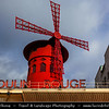 Europe - France - Paris - Capital City on Seine river - Montmartre - Moulin Rouge - Famous cabaret marked by red windmill on its roof - Well known tourist attraction, offering musical dance entertainment for visitors from around world - Best known as spiritual birthplace of modern form of can-can dance
