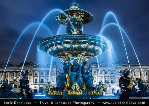 Europe - France - Paris - Capital City on Seine river - Place de la Concorde - One of major public Parisienne squares located between Champs-Elysées & Tuileries Garden - Iconic Fontaine de la Concorde - Fontaine des Fleuves - Fountain of River Commerce and Navigation