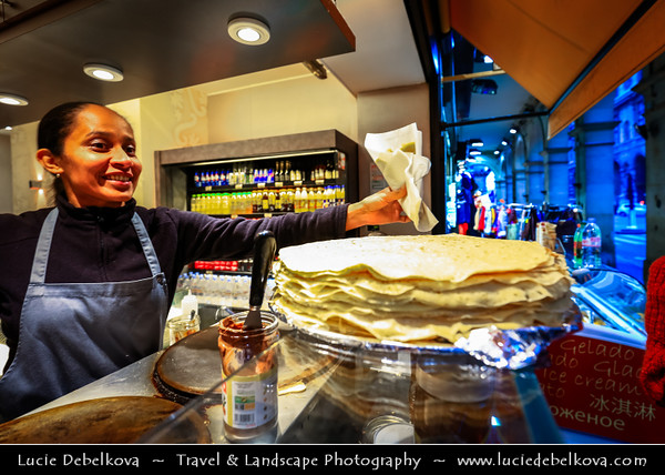 Europe - France - Paris - Capital City on Seine river - Area around Musée du Louvre - Louvre Museum - Traditional shops - Crêpe - Crepe - Delicious French Dessert - Very thin pastry, usually made from wheat flour or buckwheat flour