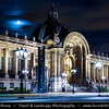 Europe - France - Paris - Capital City on Seine river - Petit Palais - Small Palace - Museum built for Universal Exhibition in 1900 - City of Paris Museum of Fine Arts - Musée des beaux-arts de la ville de Paris - Twilight - Blue Hour - Dusk - Night - Full Moon