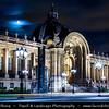 Europe - France - Paris - Capital City on Seine river - Petit Palais - Small Palace - Museum built for Universal Exhibition in 1900 - City of Paris Museum of Fine Arts - Musée des beaux-arts de la ville de Paris - Twilight - Blue Hour - Dusk - Night - Full Moon