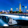 Europe - France - Paris - Capital City on Seine river - Pont de l'Alma - Alma Bridge - Arch bridge across Seine named to commemorate the Battle of Alma during the Crimean War & La Tour Eiffel - Eiffel Tower - Famous Parisienne Landmark