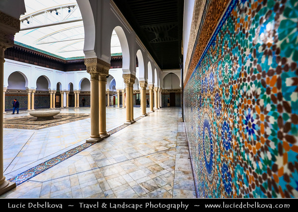 Europe - France - Paris - Capital City on Seine river - Grand Mosque of Paris - Grande Mosquée de Paris - Marble mosque with ornate square minaret, emerald-tiled courtyard & gardens