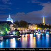 Europe - France - Paris - Capital City on Seine river - Cityscape along the river with La Tour Eiffel - Eiffel Tower - Famous Parisienne Landmark at Night