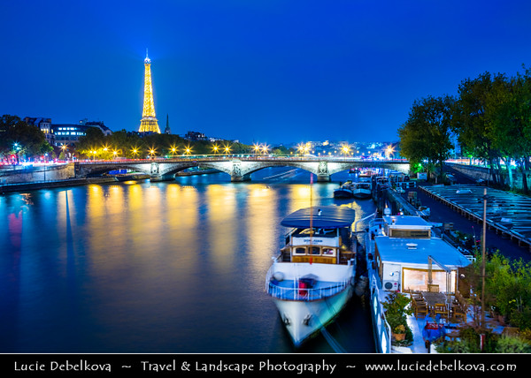 Europe - France - Paris - Capital City on Seine river - Pont Alexander III - One of most beautiful bridges & most opulently decorated bridge in Paris - Twilight - Blue Hour - Dusk - Night
