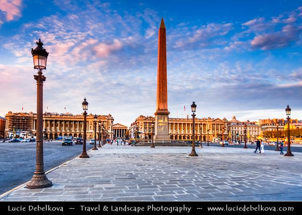 Europe - France - Paris - Capital City on Seine river - Place de la Concorde - One of major public Parisienne squares located between Champs-Elysées & Tuileries Garden - Iconic for giant cental Egyptian obelisk decorated with hieroglyphics