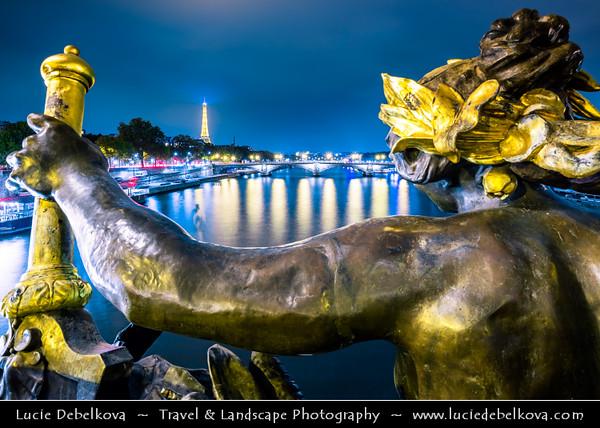 Europe - France - Paris - Capital City on Seine river - Pont Alexander III - One of most beautiful bridges & most opulently decorated bridge in Paris - Twilight - Blue Hour - Dusk - Night