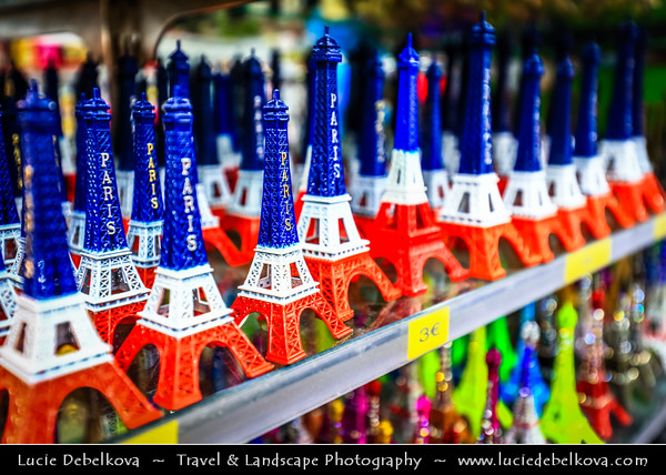 Europe - France - Paris - Capital City on Seine river - Area around Musée du Louvre - Louvre Museum - Traditional Souvenirs shops with various products to take home