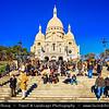 Europe - France - Paris - Capital City on Seine river - Montmartre - Historic Hill District in north of Paris - Sacré-Cœur Basilica - Basilica of the Sacré Cœur - Basilica of the Sacred Heart of Paris - One of Paris famous landmarks