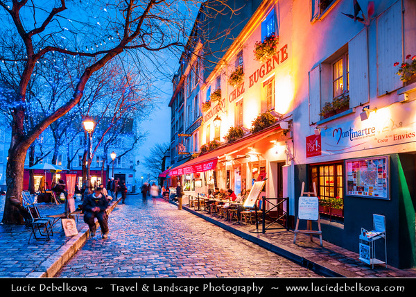 Europe - France - Paris - Capital City on Seine river - Montmartre - Historic Hill District in north of Paris - Very typical Parisienne area with artists, painters, lovely french restaurants and delicious food vendor stalls