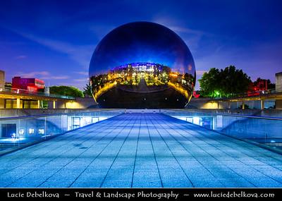 Europe - France - Paris - Capital City on Seine river - Villette - Parc de la Villette - 3rd largest Parisienne park - Cité des Sciences et de l'Industrie - City of Science and Industry - Europe's largest science museum - Géode - Omnimax Domed Theatre