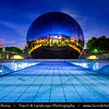 Europe - France - Paris - Capital City on Seine river - Villette - Parc de la Villette - 3rd largest Parisienne park - Cité des Sciences et de l'Industrie - City of Science and Industry - Europe's largest science museum - Géode - Omnimax Domed Theatre