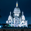 Europe - France - Paris - Capital City on Seine river - Montmartre - Historic Hill District in north of Paris - Sacré-Cœur Basilica - Basilica of the Sacré Cœur - Basilica of the Sacred Heart of Paris - One of Paris famous landmarks