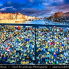 Europe - France - Paris - Capital City on Seine river - Pont de l'Archevêché - Love Locks Bridge crossing Seine river - Thousands of ribbons & padlocks attached to its railings create brightly-coloured mosaic