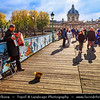 Europe - France - Paris - Capital City on Seine river - Pont des Arts - Passerelle des Arts - Pedestrian bridge linking Institut de France & central square of Palais du Louvre over river Seine