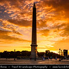 Europe - France - Paris - Capital City on Seine river - Place de la Concorde - One of major public Parisienne squares located between Champs-Elysées & Tuileries Garden - Iconic for giant cental Egyptian obelisk decorated with hieroglyphics