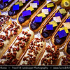 Europe - France - Paris - Capital City on Seine river - Area around Musée du Louvre - Louvre Museum - Traditional shops - L'Eclair de Genie - Delicious French Dessert - Oblong pastry made with choux dough filled with cream, topped with icing