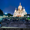 Europe - France - Paris - Capital City on Seine river - Montmartre - Historic Hill District in north of Paris - Sacré-Cœur Basilica - Basilica of the Sacré Cœur - Basilica of the Sacred Heart of Paris - One of Parisienne famous landmarks