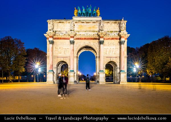 Europe - France - Paris - Capital City on Seine river - Arc de Triomphe du Carrousel - Triumphal arch located in Place du Carrousel - Twilight - Blue Hour - Dusk - Night