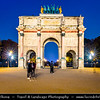 Europe - France - Paris - Capital City on Seine river - Arc de Triomphe du Carrousel - Triumphal arch located in Place du Carrousel - Twilight - Blue Hour - Dusk - Night