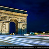Europe - France - Paris - Capital City on Seine river - Arc de Triomphe - Arc de Triomphe de l'Étoile - One of most famous Parisienne landmarks standing in centre of the Place Charles de Gaulle at western end of Champs-Élysées - Biggest arch in world, commissioned by Napoleon - Twilight - Blue Hour - Dusk - Night