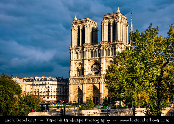 Europe - France - Paris - Capital City on Seine river -  Notre Dame de Paris - Our Lady of Paris - Notre Dame Cathedral - Iconic Gothic Catholic Cathedral on eastern half of the Île de la Cité - Famous Parisienne Landmark