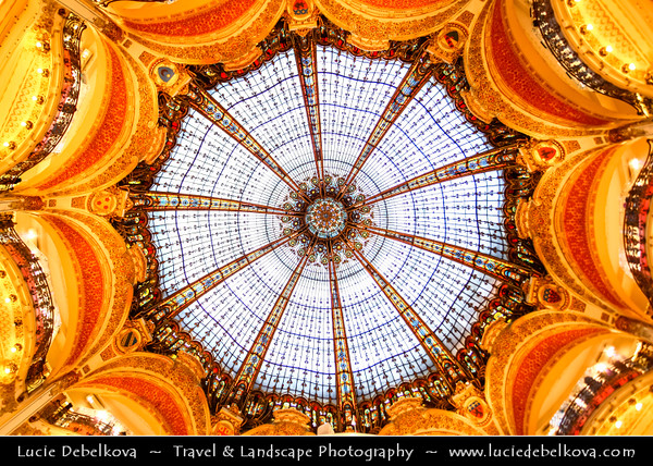 Europe - France - Paris - Capital City on Seine river - Galeries Lafayette Paris - Magasin Parisien - Upmarket French department store chain