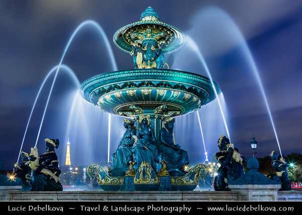 Europe - France - Paris - Capital City on Seine river - Place de la Concorde - One of major public Parisienne squares located between Champs-Elysées & Tuileries Garden - Iconic Fontaine de la Concorde - Fontaine des Fleuves - Fountain of River Commerce and Navigation
