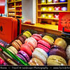 Europe - France - Paris - Capital City on Seine river - Area around Musée du Louvre - Louvre Museum - Traditional shops - Macarons - Delicious French Dessert - Sweet meringue-based confection made with egg white, icing sugar, granulated sugar, almond powder or ground almond, and food colouring