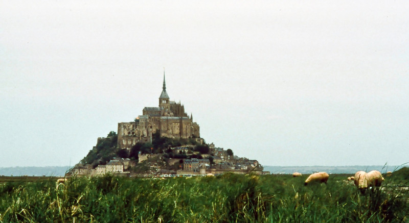 This outpost of Romano-Breton power was originally called Mont Tombe (Mount Tomb) before being overrun by the Franks and dedicated to Saint Michael in the 11tth century.<br /> <br /> The flesh of the sheep which graze on the salt meadow is the basis for a popular dish called l'agneau de pré-salé. Not being meat-eaters, we never tried it.