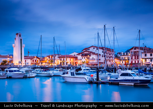 Europe - France - Nouvelle-Aquitaine Region - Pyrénées-Atlantiques- Cote Basque - St Jean de Luz - Coastal town on shores of Atlantique Ocean - Evening - Dusk - Dawn - Blue Hour - Twilight