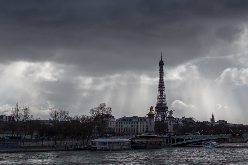 Stormy weather over the Eiffel Tower in Paris, France.