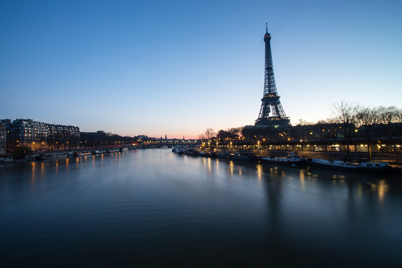 Sunrise from the Bir Hakim bridge near the Eiffel Tower in Paris, France.