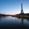 Sunrise from the Bir Hakim bridge near the Eiffel Tower in Paris, France.