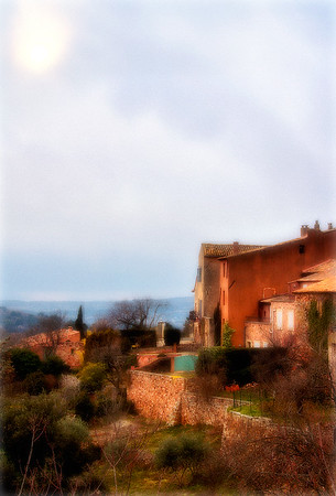 View of Rousillon Countryside, Late Afternoon - Provence, France