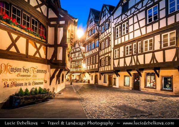 Europe - France - Alsace - Strasbourg - Strossburi - Straßburg - Historic city centre - UNESCO World Heritage Site - Strasbourg Petite France - Popular corner of Grand Île - Main Island - Traditional timber-framed buildings
