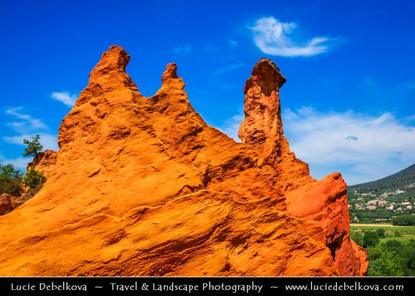 Europe - France - Provence-Alpes-Côte d'Azur Region - Vaucluse - Parc Naturel Régional du Luberon - Colorado Provençal de Rustrel - The ocre-red rock stunning cliffs shaped by natural elements