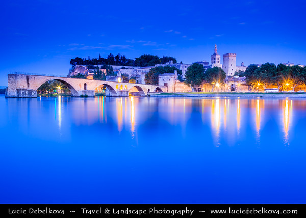 Europe - France - Provence-Alpes-Côte d'Azur Region - Vaucluse - Avignon - Historical city on banks of Rhône River - City of Popes - UNESCO World Heritage Site - Pont Saint-Bénézet - Pont d'Avignon - Famous medieval bridge which is only half finished