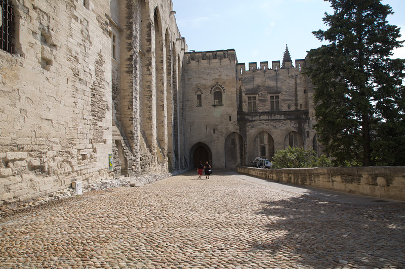 Walk way leading up to the 'Cathédrale Notre-Dame des Doms' - The cathedral next to the Palace of the Popes, Avignon.