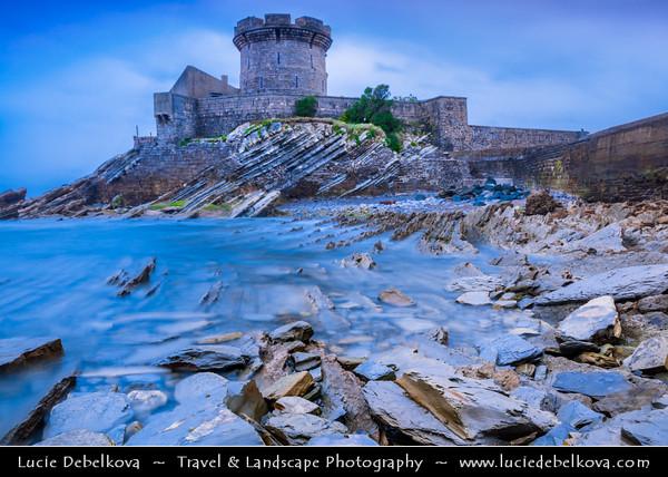 Europe - France - Nouvelle-Aquitaine Region - Pyrénées-Atlantiques- Cote Basque - Bay of St Jean de Luz - Socoa Medieval Fort situated on shores of Atlantique Ocean