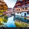 Europe - France - Alsace - Strasbourg - Strossburi - Straßburg - Historic city centre - UNESCO World Heritage Site - Strasbourg Petite France - Popular corner of Grand Île - Main Island - Traditional timber-framed buildings along River Ill