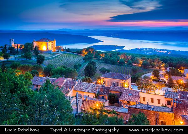 Europe - France - Provence-Alpes-Côte d'Azur Region - Var department - Chateau de Aiguines - Aiguines castle above the Lake of Sainte-Croix - Lac de Sainte Croix in the Gorges du Verdon -